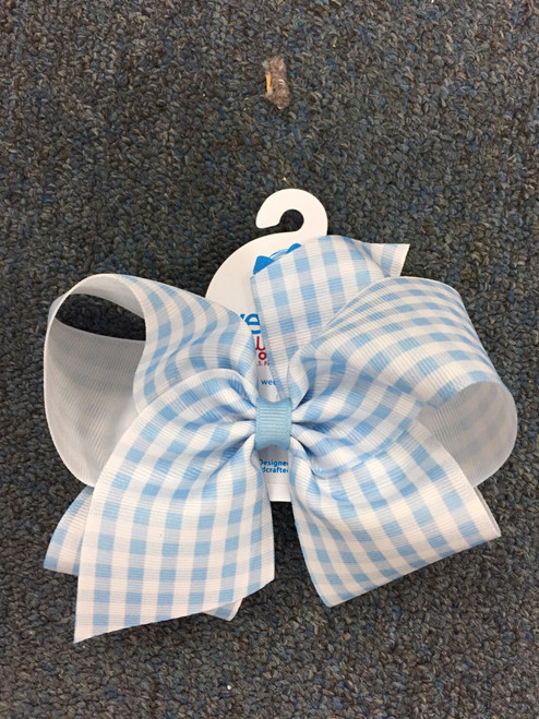 Blue-white wee stay no slip clip King hairbow