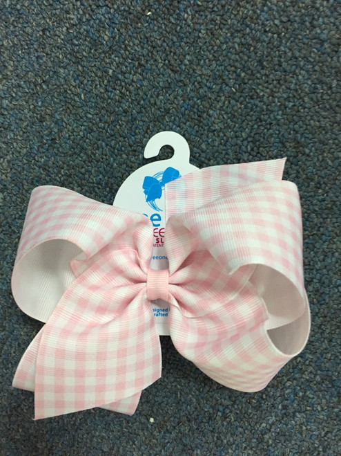 Pink-White Wee stay no slip clip King Hairbow