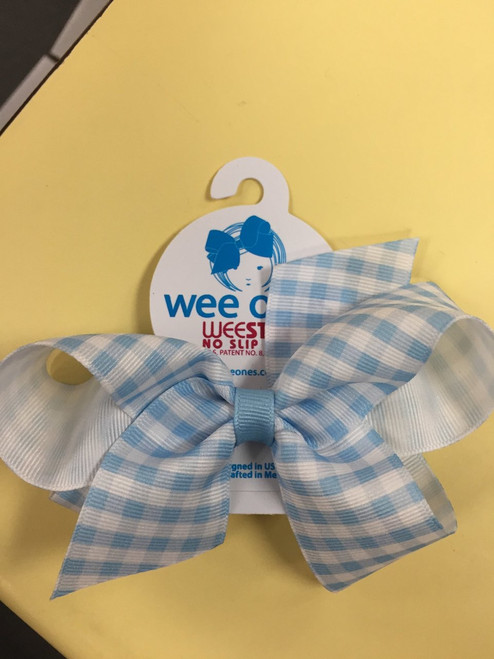 Blue-white Wee stay No slip clip Medium Hair Bow