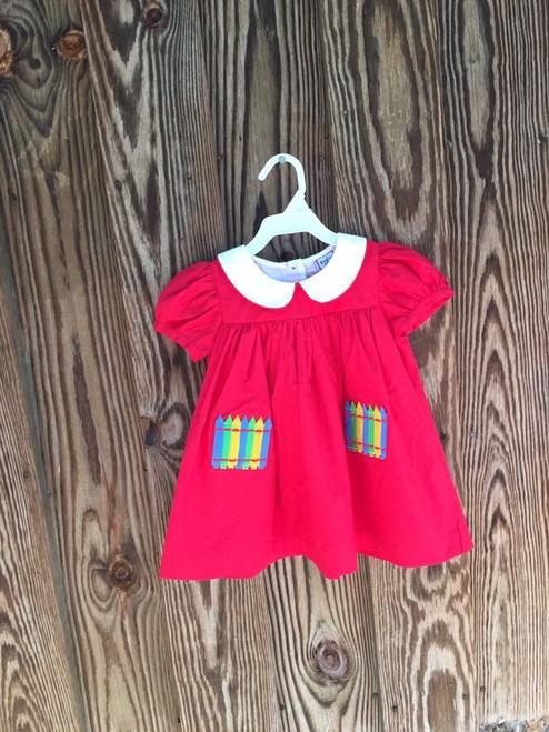 Red Pocket Crayon Empire Dress
