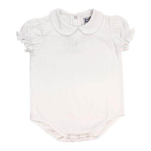 White Knit, White Trim Girls S/S Onesie