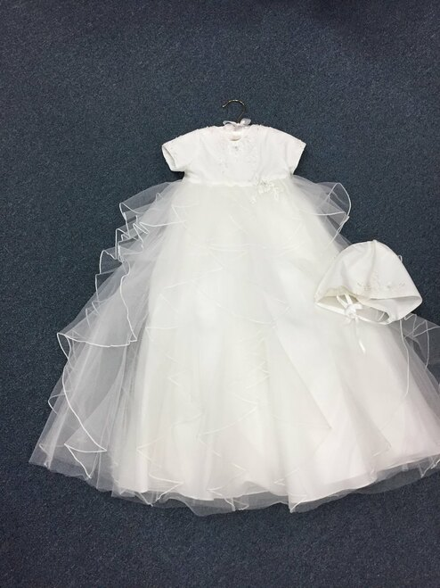 Embroidered applique beaded  christening gown