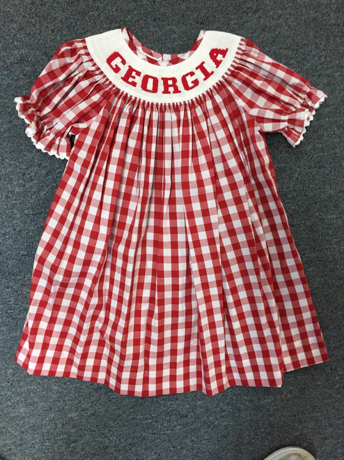 Georgia smocked red gigham dress