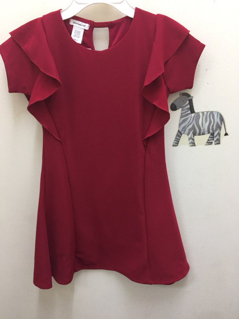 Area Code Red Crepe Dress With Front Ruffle