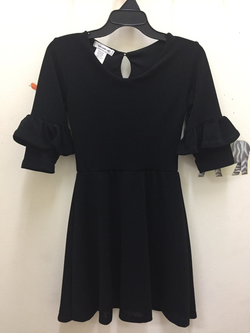 Area Code  Black Crepe Dress With 3/4 Ruffle Sleev