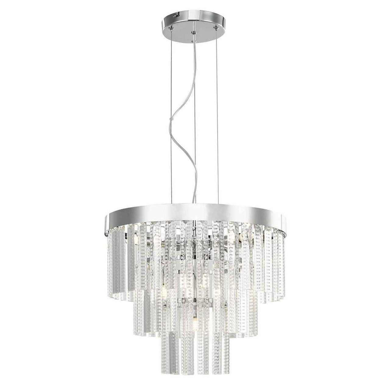 Lorant 7 Light 3 Tier Clear Polished Chrome Pendant Light
