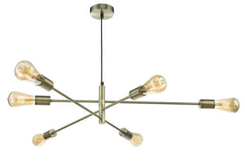Alana 6 Light Antique Brass Pendant Light