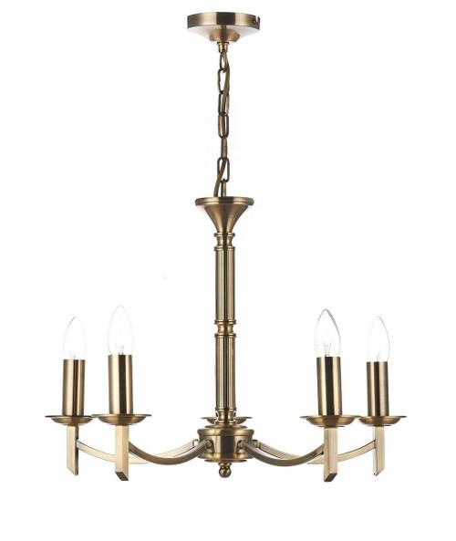 Ambassador 5 Light Dual Mount Antique Brass Pendant Light Chandelier