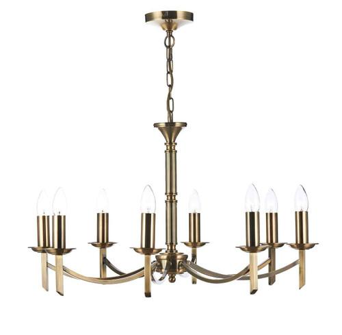 Ambassador 8 Light Dual Mount Antique Brass Pendant Light Chandelier