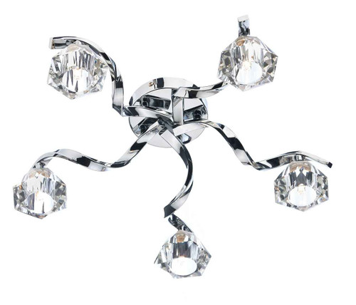 Ancona 5 Light Polished Chrome Flush Ceiling Light