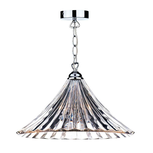 Ardeche Large Clear Glass Polished Chrome Pendant Light