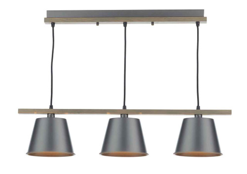 Arken 3 Light Raw Wood Pendant Light with Grey Industrial Metal Shade