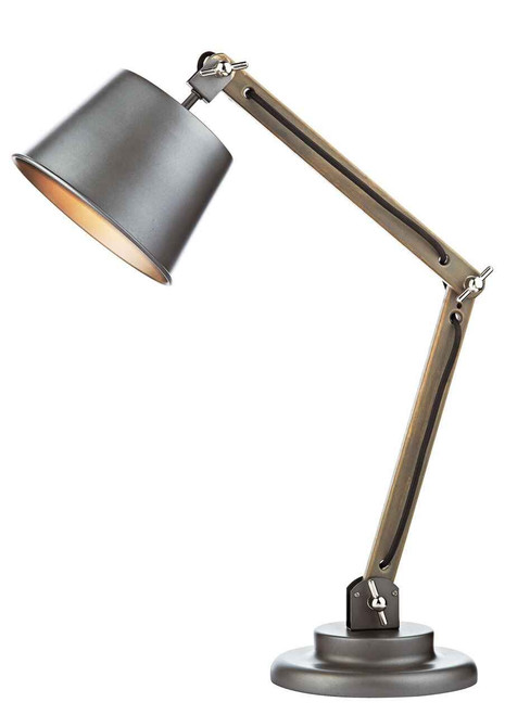 Arken Raw Wood Adjustable with Grey Industrial Metal Shade Table Lamp