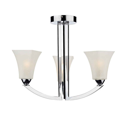 Arlington 3 Light Polished Chrome Semi Flush Ceiling Light