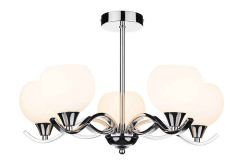 Aruba 5 Light Polished Chrome Semi Flush Pendant