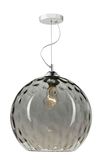 Aulax Silver Smoked Glass With Dimple Effect Pendant Light