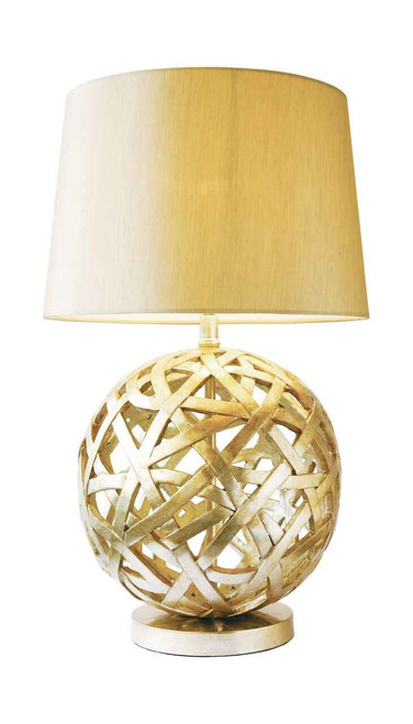 Balthazar Bronze with Gold Faux Silk Shade Table Lamp