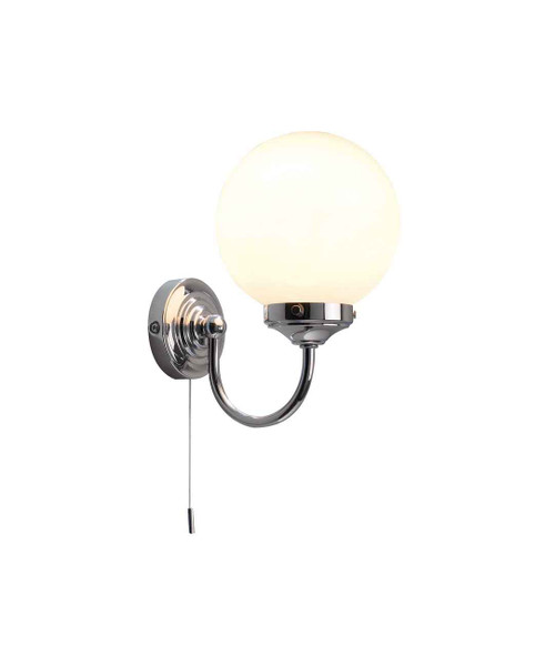 Barclay Polished Chrome IP44 Wall Light with Switch and Opal Globe