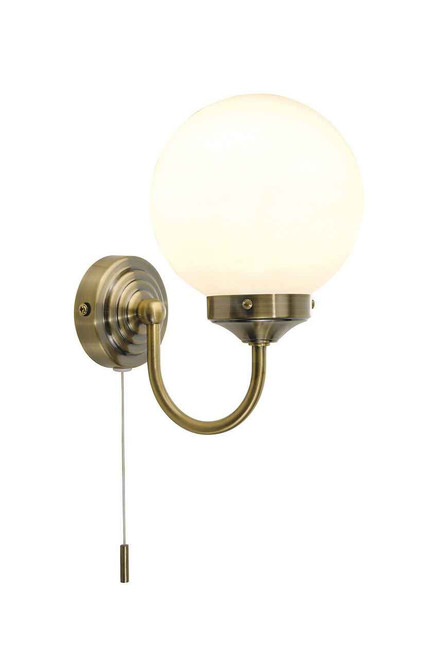 Barclay Antique Brass IP44 Single Wall Light with Switch and Opal Globe