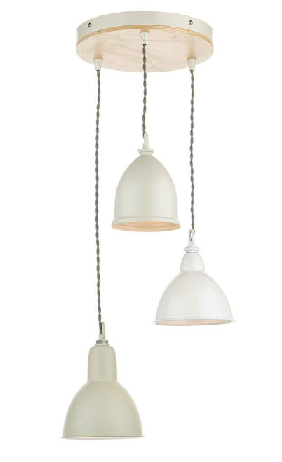 Blyton 3 Light with Painted Metal Shade Spiral Pendant Light