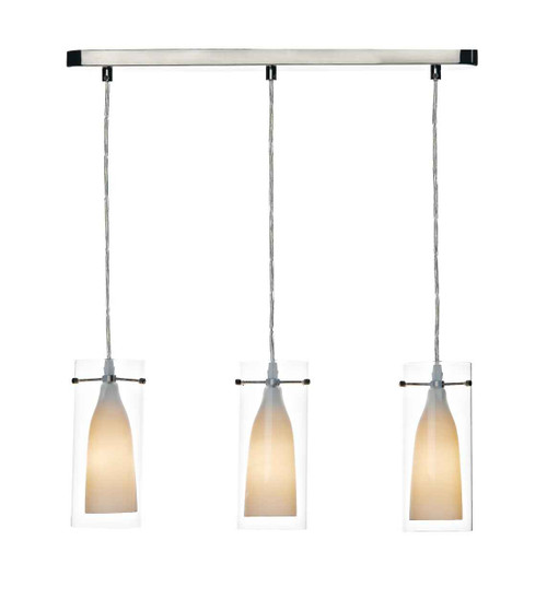 Boda 3 Light Satin Chrome Double Glass Pendant Light