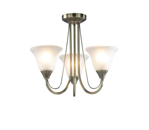 Boston 3 Light Antique Brass with Glass Semi Flush Pendant Light