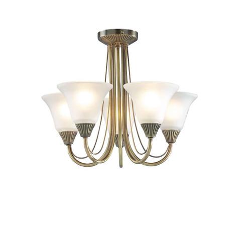 Boston 5 Light Antique Brass with Glass Semi Flush Pendant Light