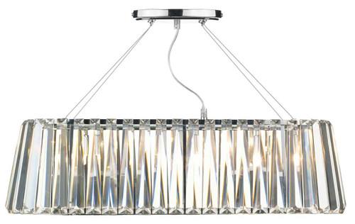 Cecilia 3 Light Oval Linear Crystal Glass and Polished Chrome Bar Pendant Light