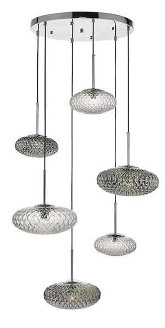 Bibiana 6 Light Clear And Smoked Textured Glass Polished Chrome Cluster Pendant