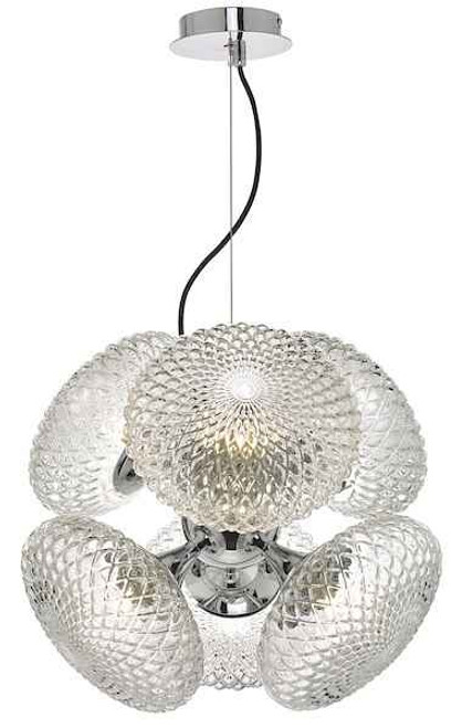 Bibiana 6 Light Polished Chrome And Clear Glass Pendant Light