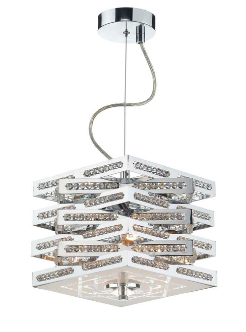 Cube 3 Light Polished Chrome with Crystal Glass Pendant Light