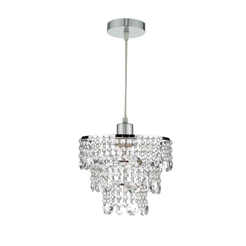 Cybil Crystal Polished Chrome Non Elec Easy Fit Pendant Light