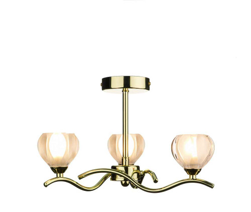 Cynthia 3 Light Polished Brass Semi Flush Pendant Light
