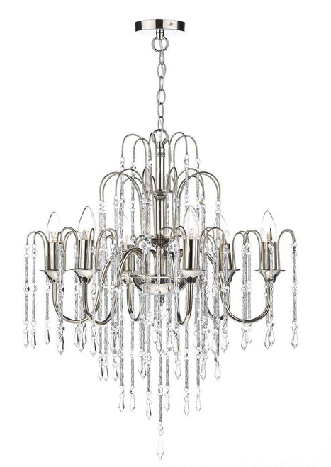 Daniella 6 Light Polished Nickel and Crystal Dual Mount Pendant Light