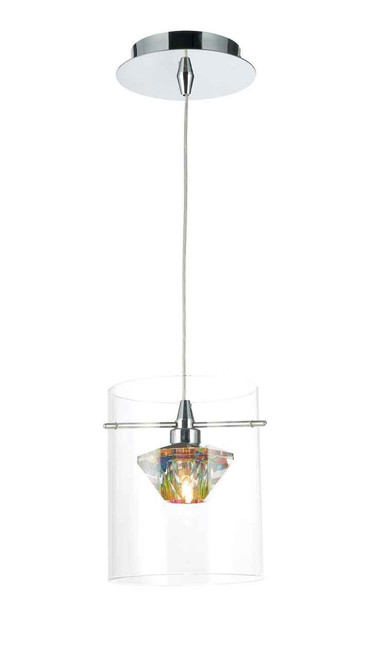 Decade Polished Chrome with Clear Glass Pendant Light