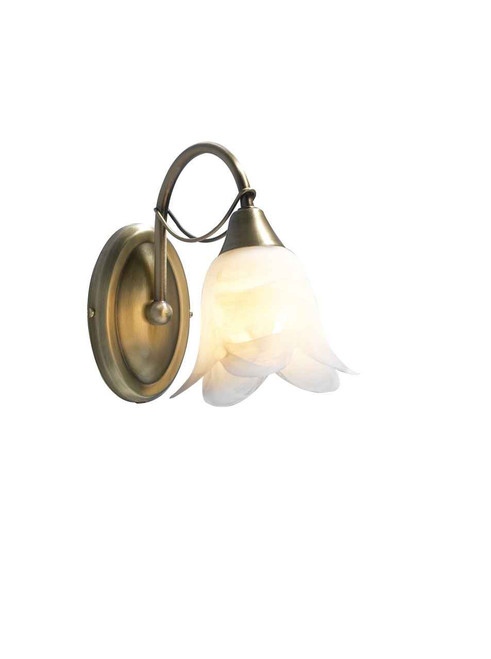 Doublet Antique Brass with Alabaster Glass Single Wall Light