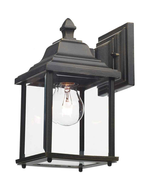 Doyle Black Gold IP44 Outdoor Lantern Wall Light