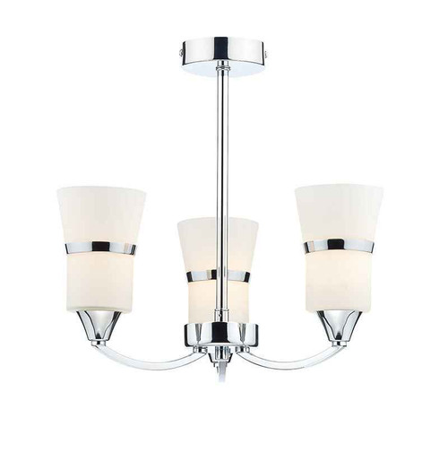 Dublin 3 Light Polished Chrome and White Glass Semi Flush Ceiling Light