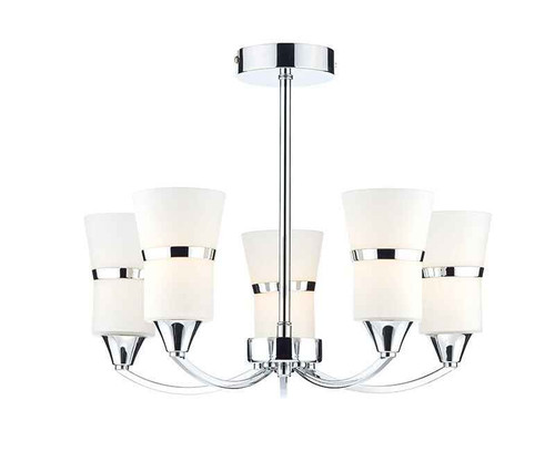 Dublin 5 Light Polished Chrome and White Glass Semi Flush Ceiling Light