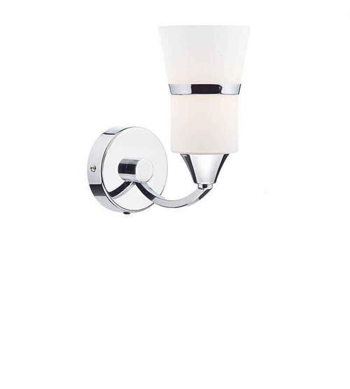 Dublin Single Polished Chrome and White Glass Wall Light
