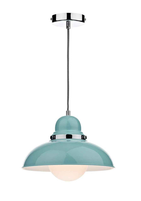 Dynamo Polished Chrome Gloss Blue and White Opal Pendant Light