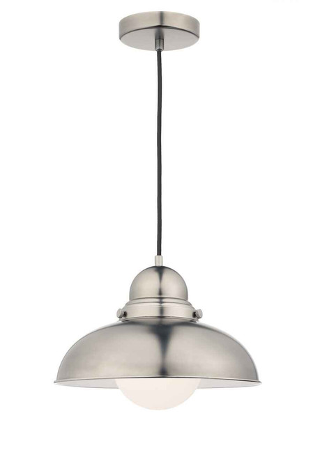 Dynamo Antique Chrome and White Opal Pendant Light