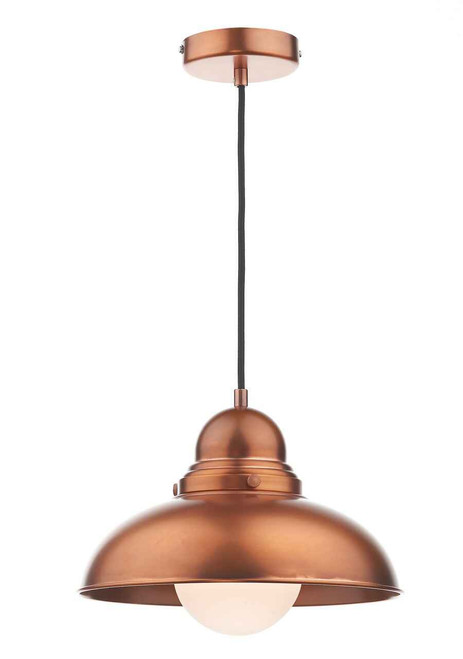 Dynamo Antique Copper and White Opal Pendant Light
