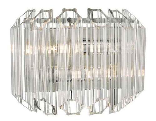 Tuvalu 2 Light Glass & Polished Chrome Wall Light