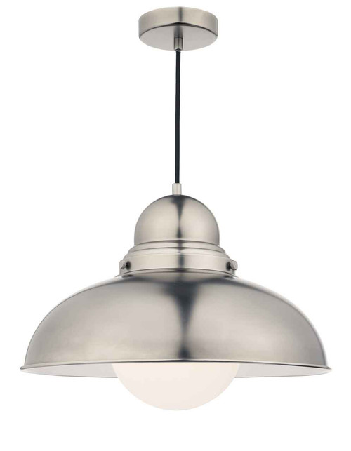 Dynamo Antique Chrome and Opal Glass Large Pendant Light