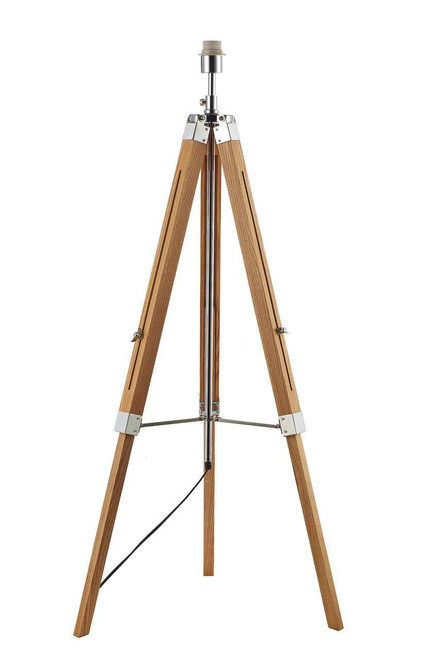 Easel Light Wood and Polished Chrome Tripod Floor Lamp Base Only