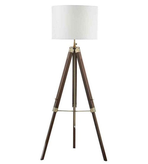 Easel Dark Wood and Antique Brass Tripod Floor Lamp Base Only