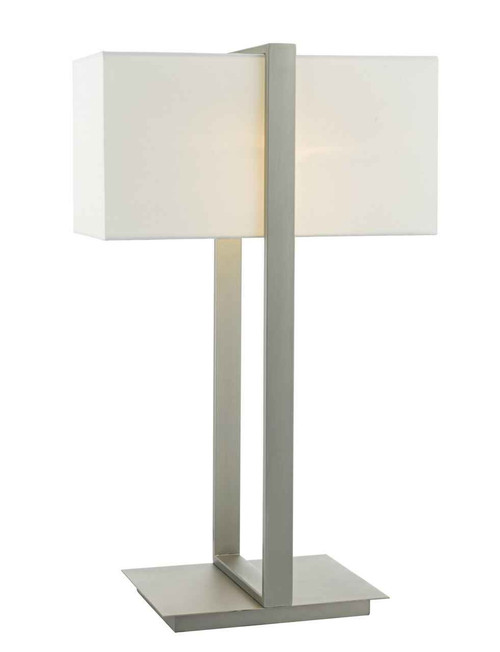 Eduardo Antique Nickel with Ivory Cotton Shade Table Lamp