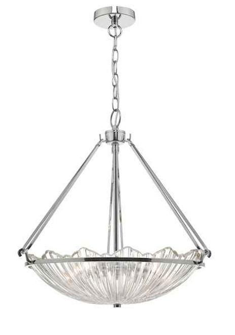 Avril 3 Light Polished Nickel & Glass Pendant Light