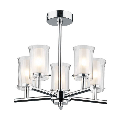 Elba 5 Light Polished Chrome and White Opal Glass IP44 Bathroom Ceiling Light
